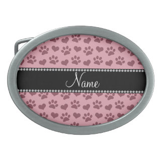 Personalized name pretty pink hearts and paw print oval belt buckle