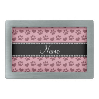 Personalized name pretty pink hearts and paw print rectangular belt buckle