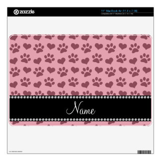 Personalized name pretty pink hearts and paw print MacBook air decals