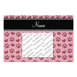 Personalized name pretty pink hearts and paw print photo