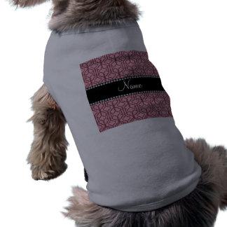 Personalized name pretty pink moroccan quatrefoil pet t-shirt