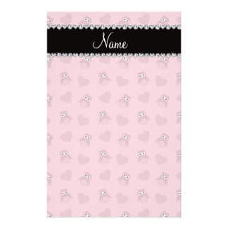 Personalized name pretty pink owl hearts customized stationery