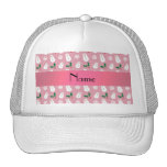 Personalized name pretty pink snowman christmas hat