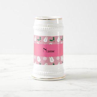 Personalized name pretty pink snowman christmas mug