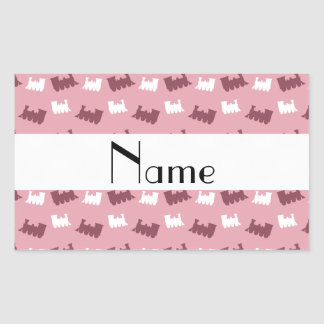 Personalized name pretty pink train pattern stickers