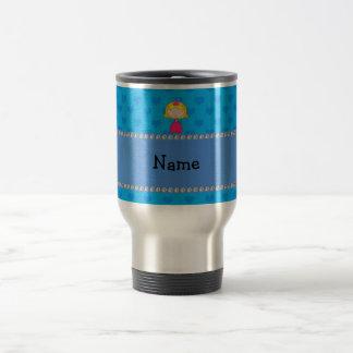 Personalized name princess blue hearts coffee mugs
