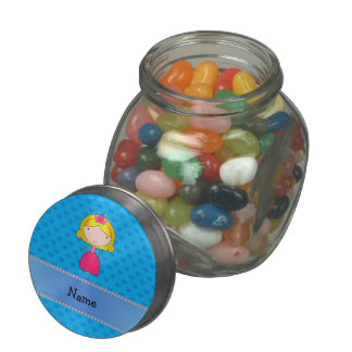 Personalized name princess blue hearts glass candy jar