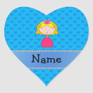 Personalized name princess blue hearts heart sticker
