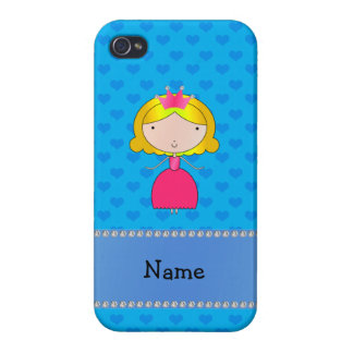 Personalized name princess blue hearts iPhone 4 cases