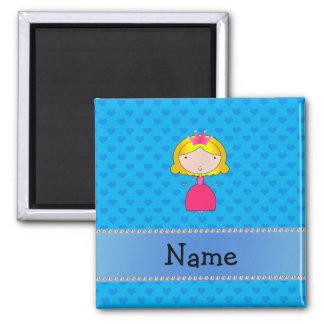 Personalized name princess blue hearts fridge magnets