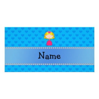 Personalized name princess blue hearts photo cards