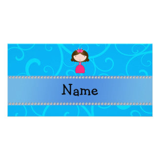 Personalized name princess blue swirls picture card