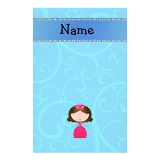 Personalized name princess blue swirls stationery