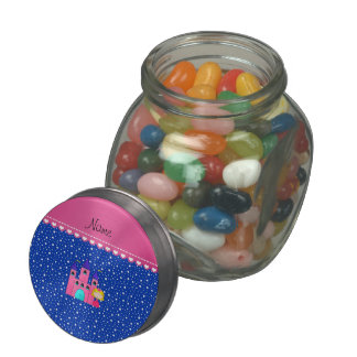 Personalized name princess castle blue stars jelly belly candy jars
