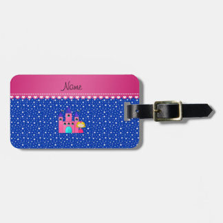 Personalized name princess castle blue stars tag for luggage