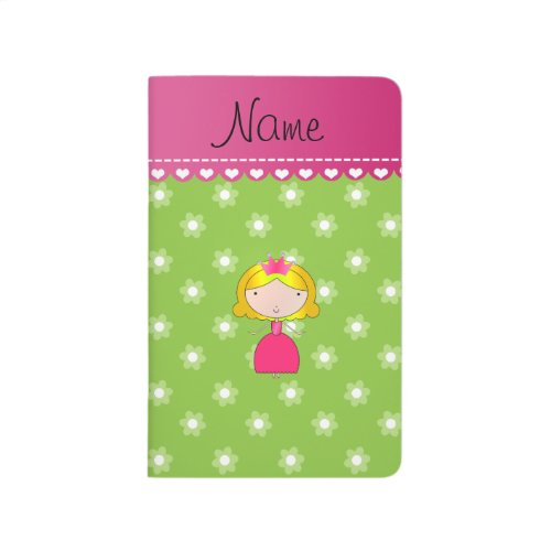 Personalized name princess green flowers journal