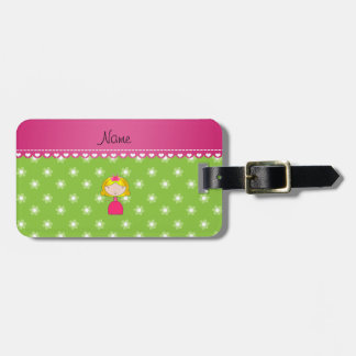 Personalized name princess green flowers tag for bags