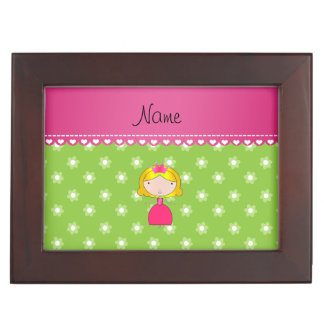Personalized name princess green flowers memory boxes