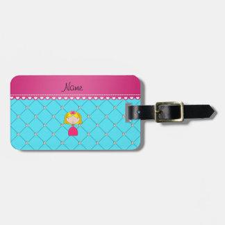 Personalized name princess light blue diamonds travel bag tag
