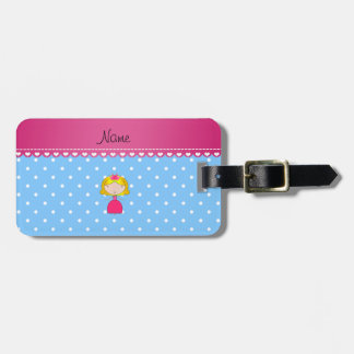 Personalized name princess light blue polka dots tags for luggage