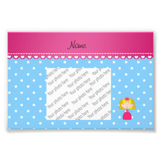 Personalized name princess light blue polka dots photo