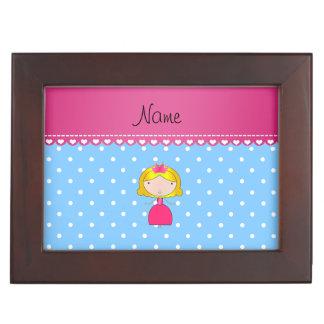 Personalized name princess light blue polka dots memory boxes