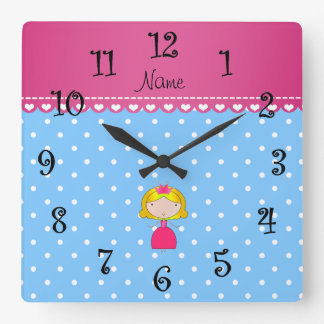 Personalized name princess light blue polka dots square wall clock