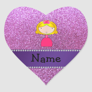 Personalized name princess pastel purple glitter heart sticker