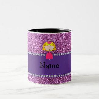 Personalized name princess pastel purple glitter coffee mugs