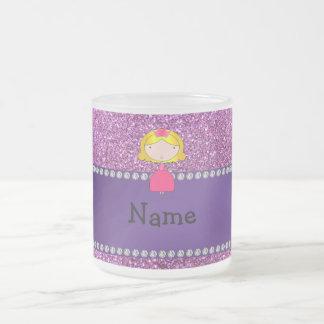 Personalized name princess pastel purple glitter mugs