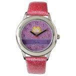 Personalized name princess pastel purple glitter wristwatch