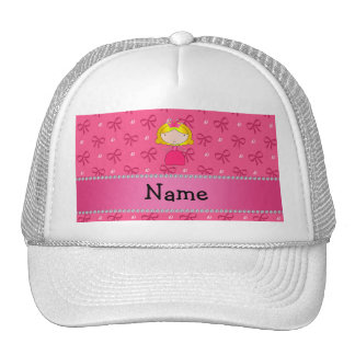 Personalized name princess pink bows and diamonds hat