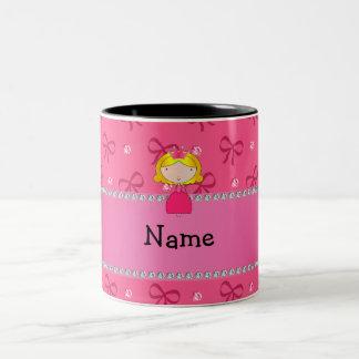 Personalized name princess pink bows and diamonds coffee mugs