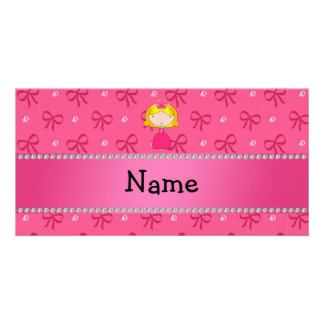 Personalized name princess pink bows and diamonds photo cards