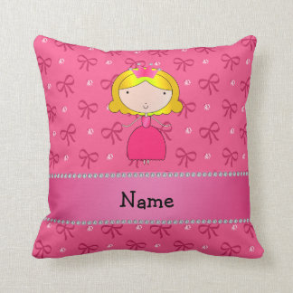 Personalized name princess pink bows and diamonds pillow