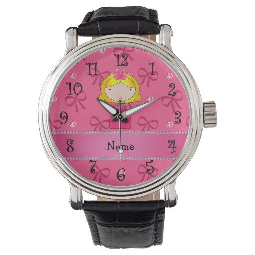Personalized name princess pink bows and diamonds wristwatch