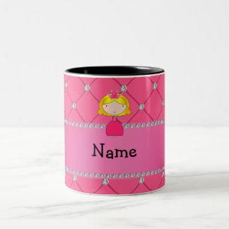 Personalized name princess pink diamonds mug