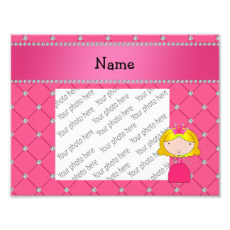Personalized name princess pink diamonds photo print