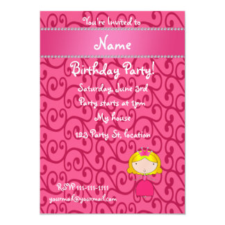 Personalized name princess pink swirls card