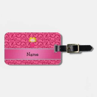 Personalized name princess pink swirls travel bag tags