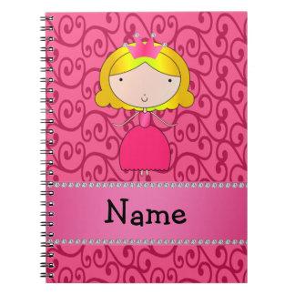 Personalized name princess pink swirls spiral notebook