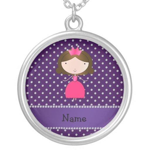 Personalized name princess purple diamonds necklaces