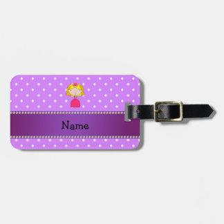 Personalized name princess purple polka dots travel bag tags