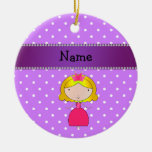 Personalized name princess purple polka dots christmas ornaments