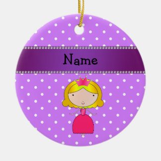 Personalized name princess purple polka dots Double-Sided ceramic round christmas ornament