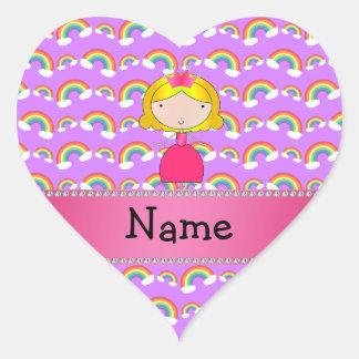 Personalized name princess purple rainbows heart sticker