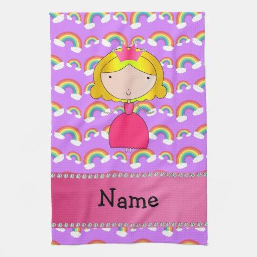 Personalized name princess purple rainbows hand towel