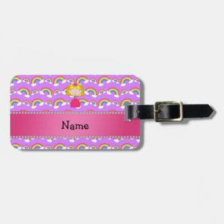 Personalized name princess purple rainbows travel bag tag