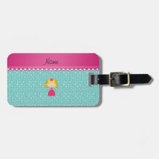 Personalized name princess seafoam green stars luggage tags