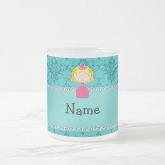 Personalized name princess turquoise damask mug